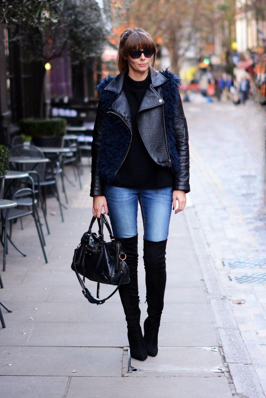 Navy and black biker jacket, skinny jeans, black OTK thigh high ...