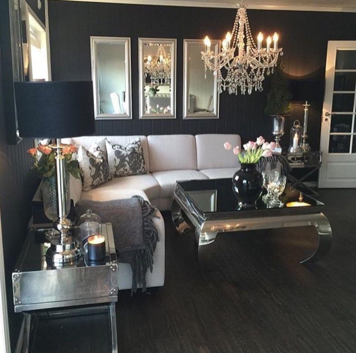 Modern Glam Living Room Decorating Ideas 19: Black Walls In A Modern Glam Living Room