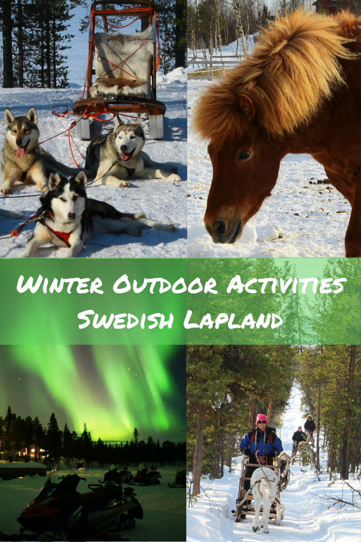 Travel the World: Winter outdoor activities to enjoy while traveling through Swedish Lapland in northern Sweden including a moose safari while riding Icelandic horses, reindeer sledding, snowmobiling, and dog sledding.