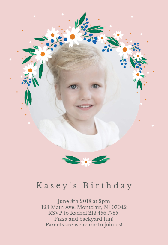 Daisy Invitation Template Customize Add Text And Photos Print Download Send Online For Free Invitations Printable Diy Birthday Party