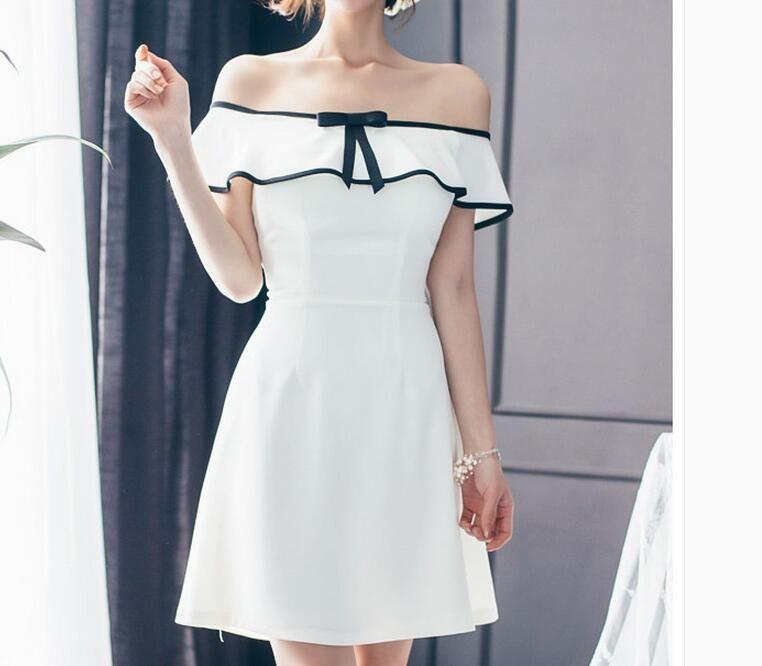 Summer women's sexy strapless slit neckline ruffle one-piece dress High waist elegant slim bow backless A-Line dress