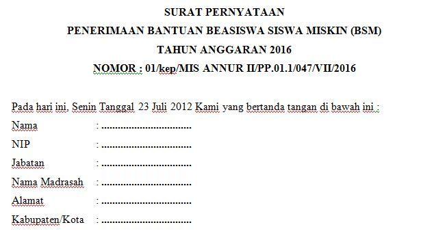 Dokumen Contoh Surat Pernyataan Penerimaan Dana Bantuan
