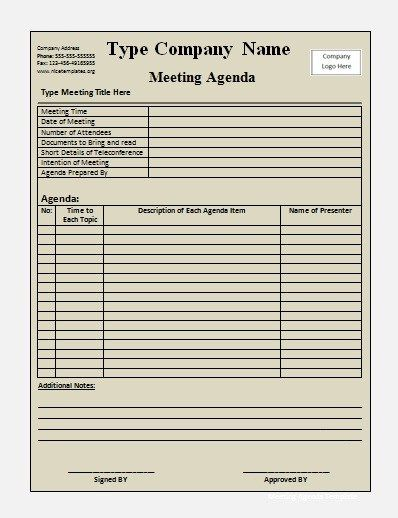 meeting agenda templates Office Work Pinterest Template