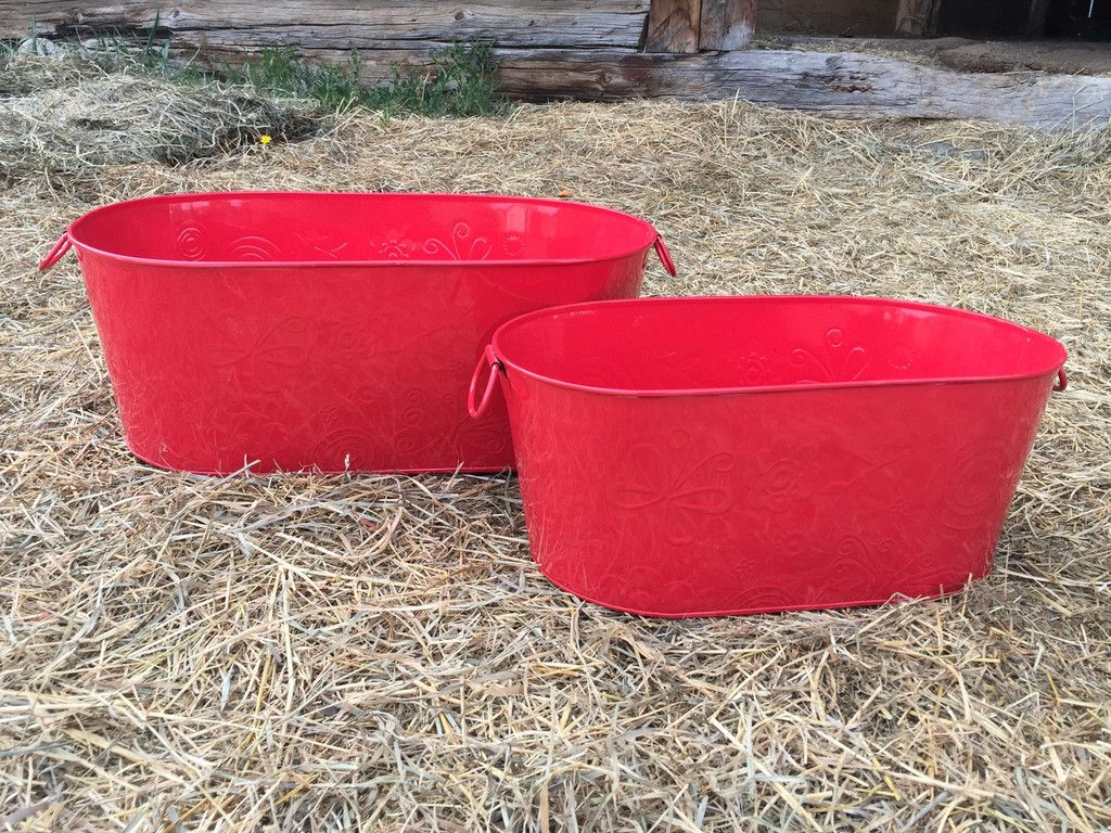Red Floral Embossed Oval Buckets - Set of 2