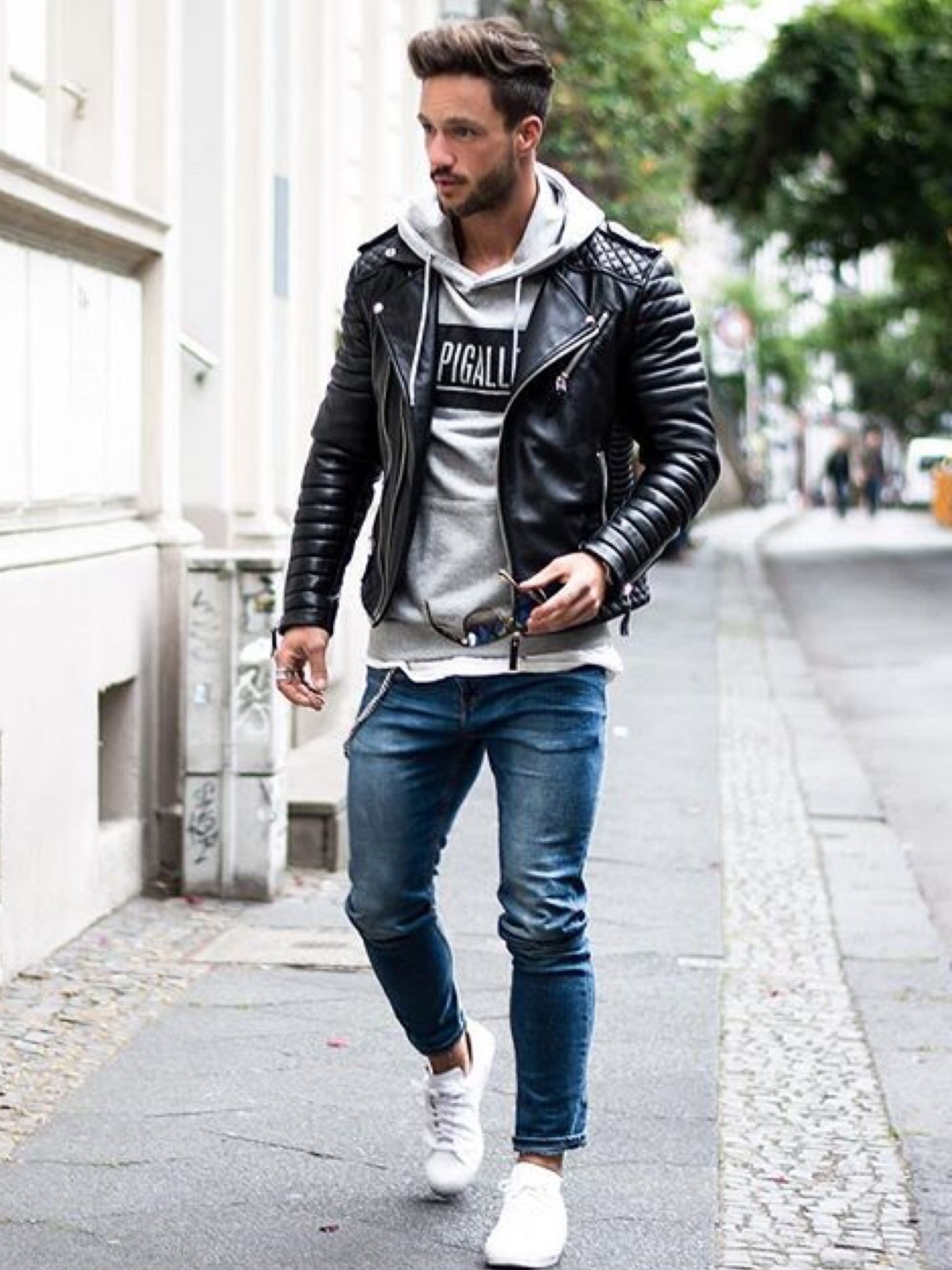 Night Denim Sneakers Layer A Tee Hoodie And Leather Jacket Fashion