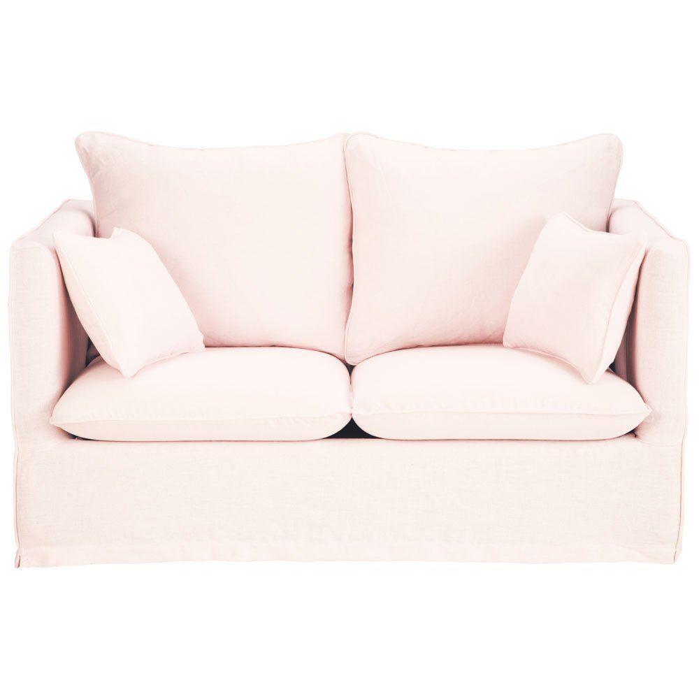 Canapé 2 places fixe lin rose pâleTimothée 399€ | 5. Png Home ...
