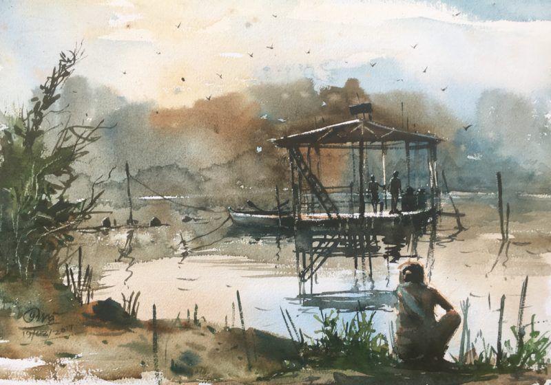 Fishing Bot At Powai Lake Watercolor Paintings Painting Art