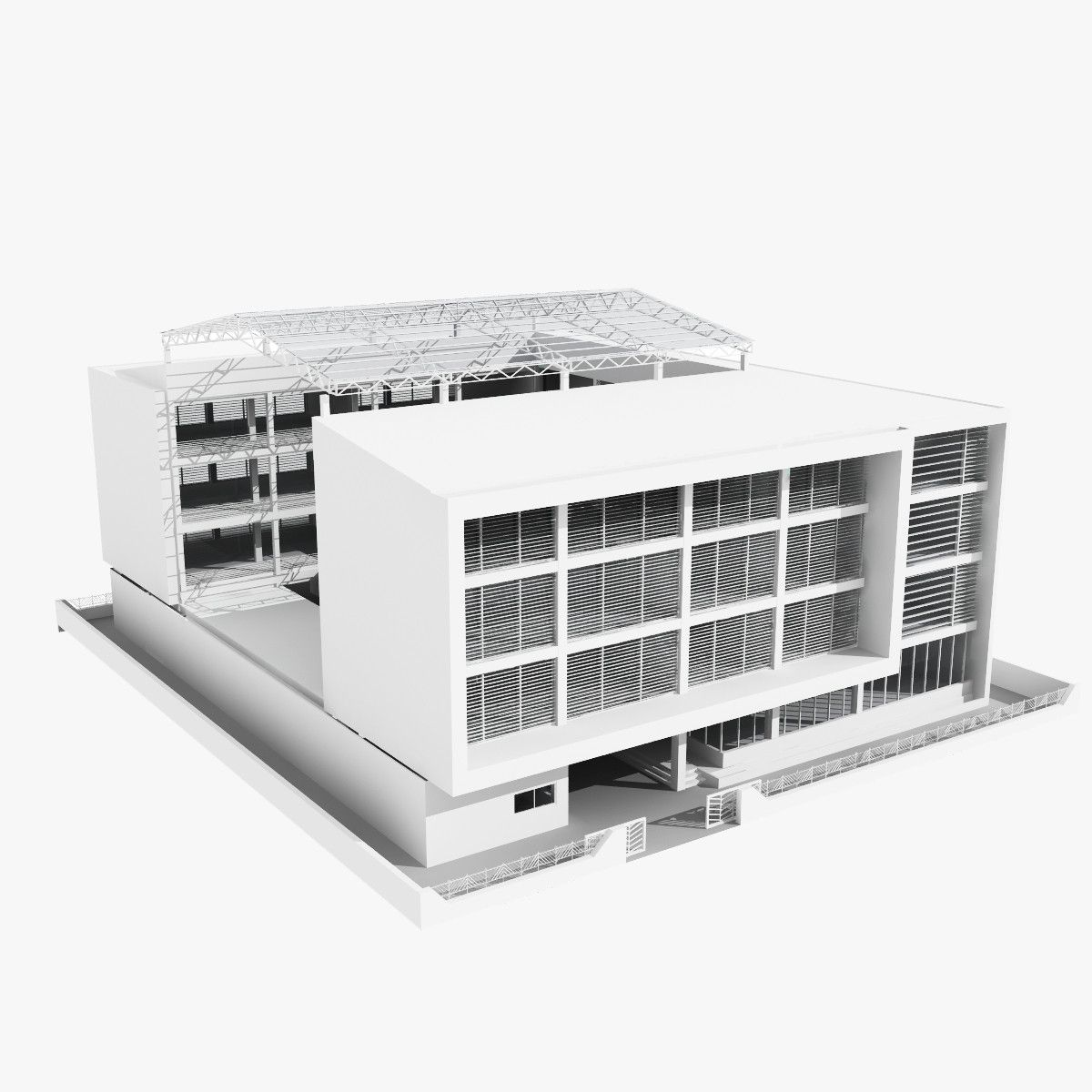 Low Rise Office Building With Courtyard 3D Model Download