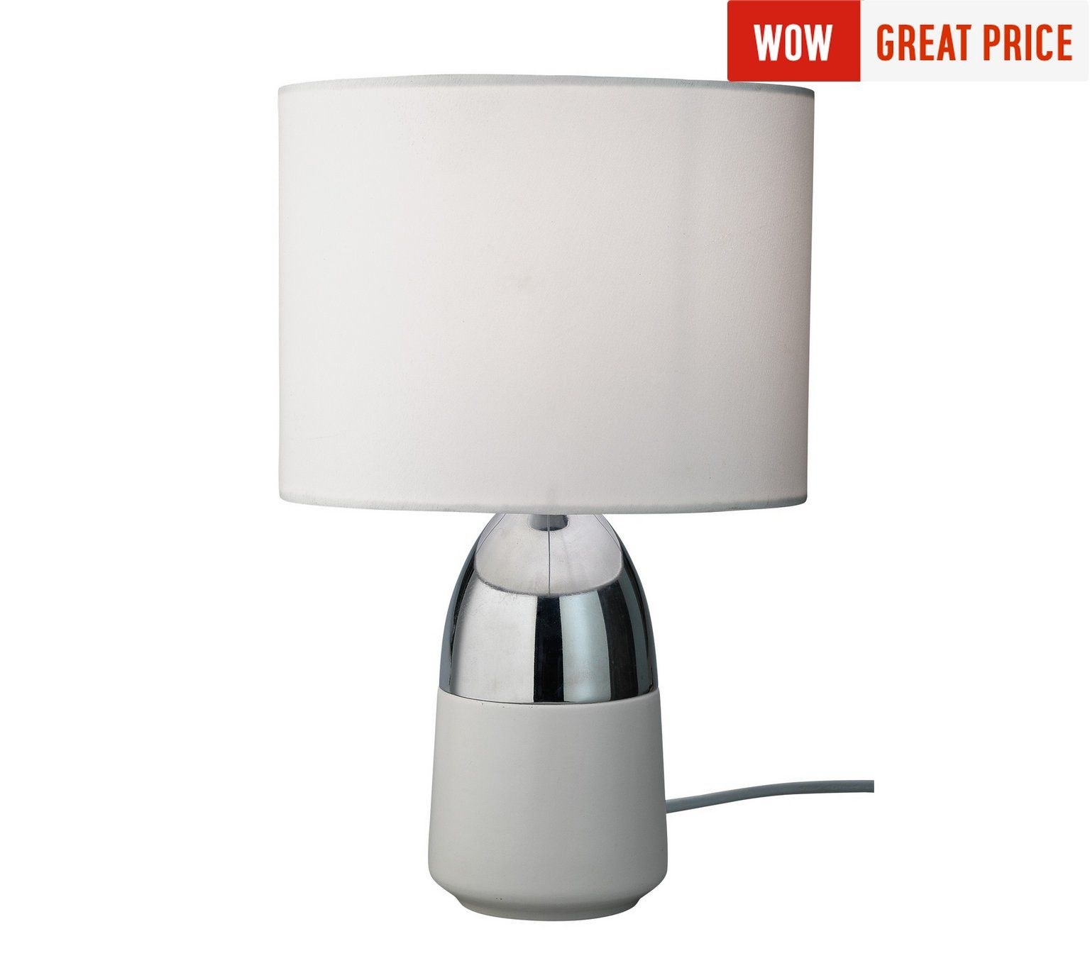 Buy home duno touch table lamp white chrome at argos buy home duno touch table lamp white chrome at argos aloadofball Image collections
