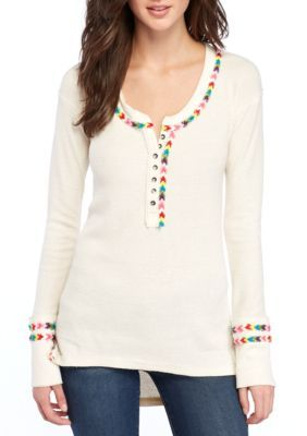 cb870b60 Free People Rainbow Thermal Henley Top | Products | Women's henley ...