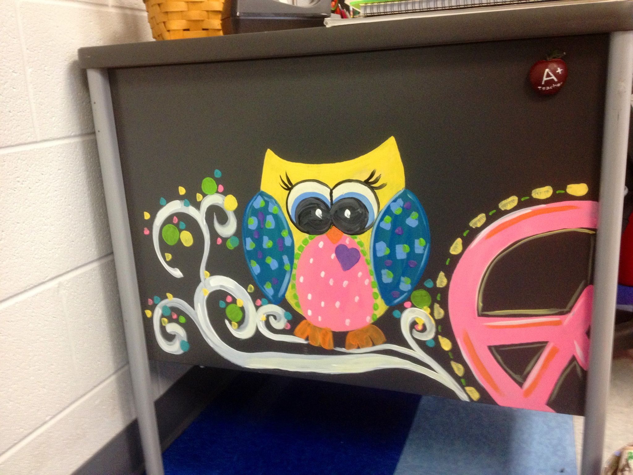 I Painted The Side Of A Teacher Desk To Classroom Decor