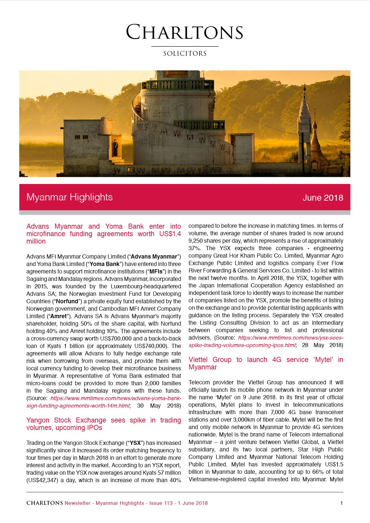 Advans Myanmar And Yoma Bank Enter Into Microfinance Funding