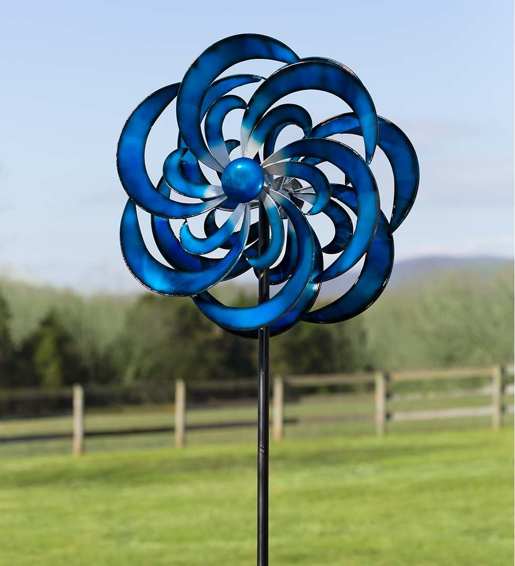Blue Waves Wind Spinner Wind Spinners Blue Spinner Garden Spinner New Spinners Wind Spinner Metal Wind Spinners Kinetic Wind Spinners Wind Spinners