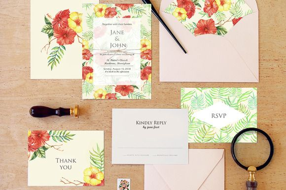 Tropical wedding invitation creativework247 invitation cards im freelance artist illustrator and i really love my work so ill glad to help you with making your project beautiful tropical wedding invitation stopboris Choice Image