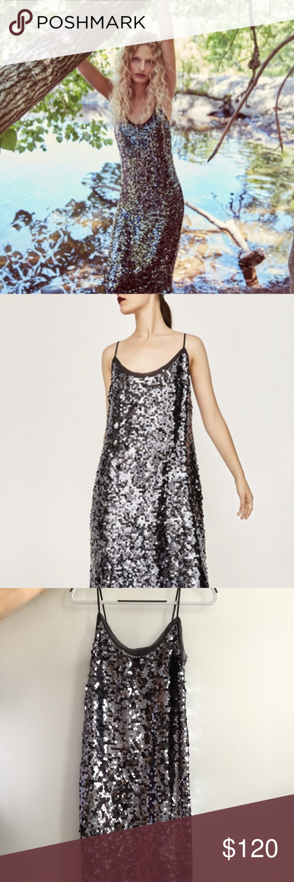 4f071ecf NWT | Zara Disco Forest Dress NWT, Zara Woman Disco Forest sequin slip dress  (taupe / gunmetal) Size Medium/Large Zara Dresses