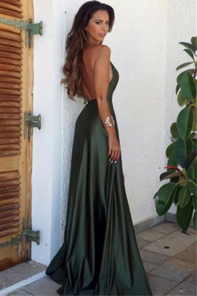 3caad7e546 Olive Green Backless Split Elegant Simple Prom Party Dress V-Neck Long Floor  Length Evening Gowns - FlosLuna