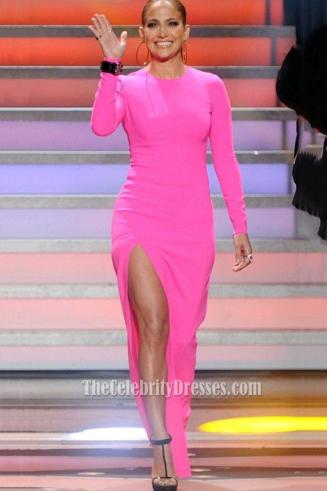 Jennifer Lopez American Idol Hot Pink Long Sleeved High Slit Evening ...