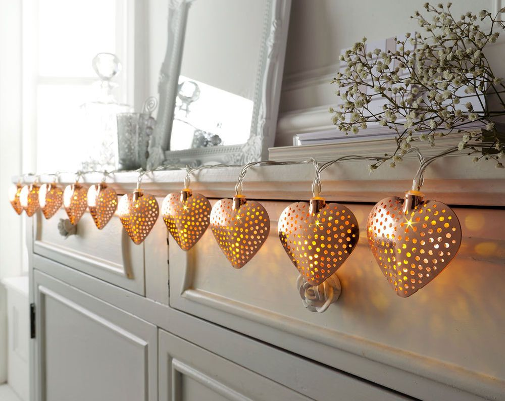 led rose gold heart string lights mantlepiecemirrorheadbord