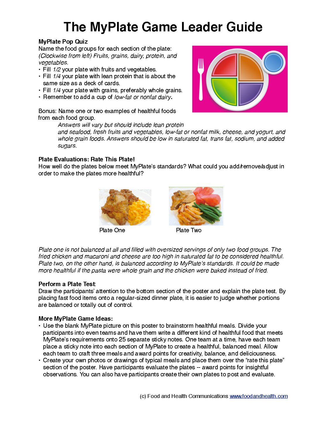 MyPlate Game Poster (With images) My plate, School