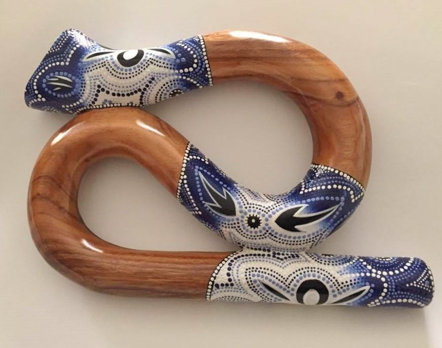 S Shaped Didgeridoo, Hand Carved and Painted, Compact Didgeridoo, Mint Condition