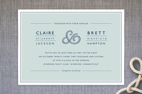Nautical & Beach Wedding Planning, Theme Ideas, Decor & Supplies >> Nautical Rope Invitations