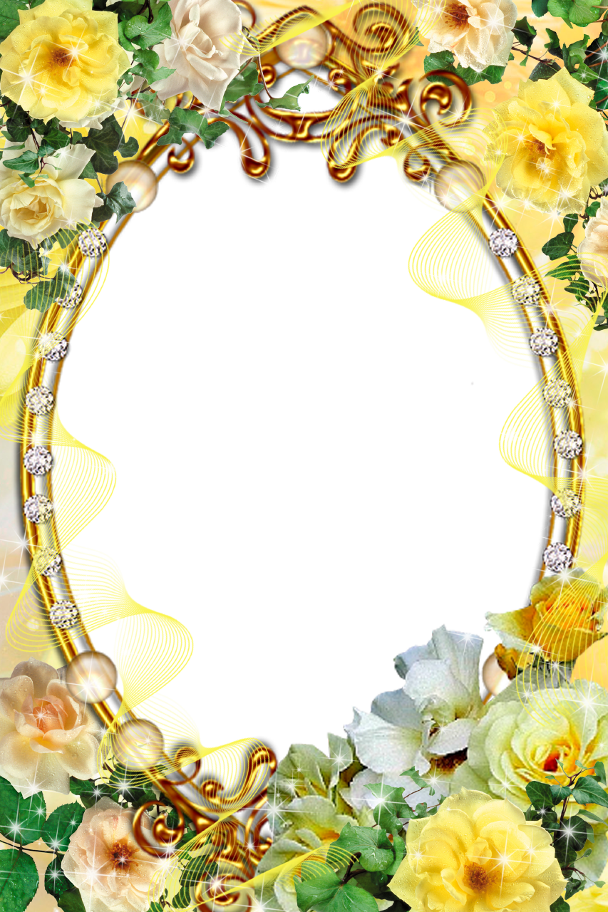 Diamonds decorated oval picture frame with yellow roses for Picture frame corners