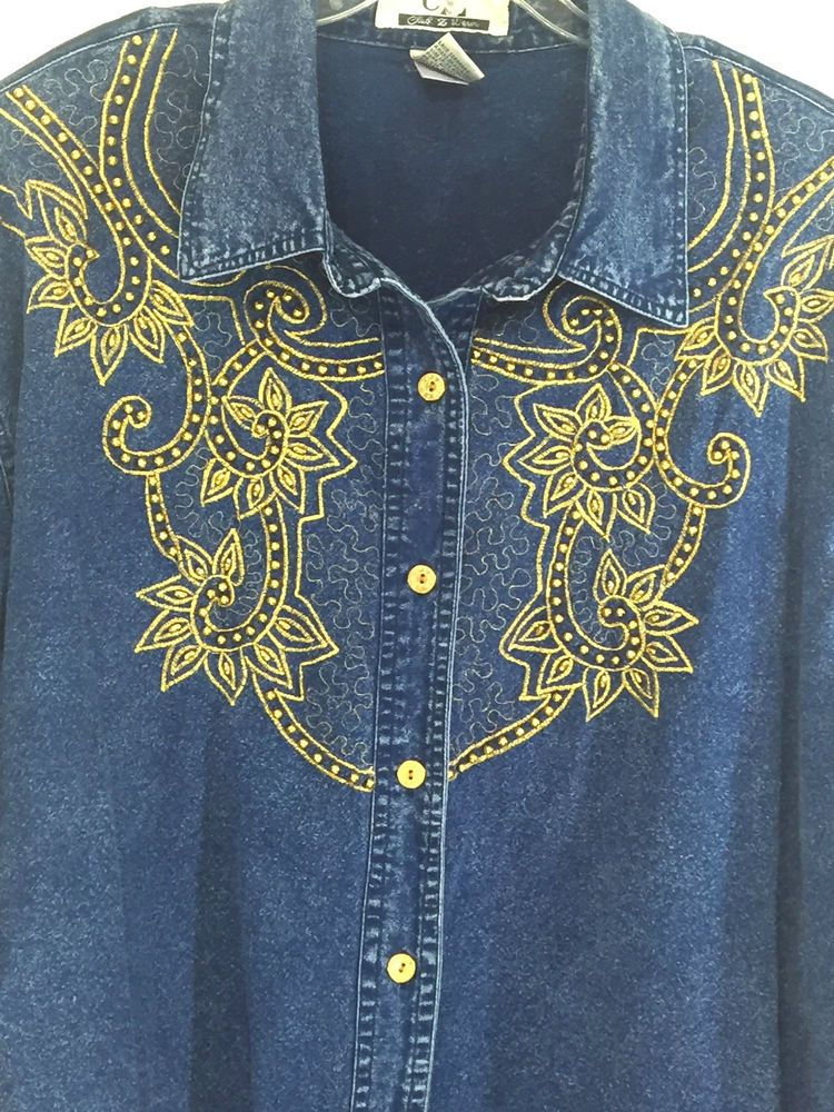 d5f7239b110 CZ Club Denim Women Plus Size 2X Shirt Blue Gold Embroidery Beads Button  Cowgirl  ClubZDenim