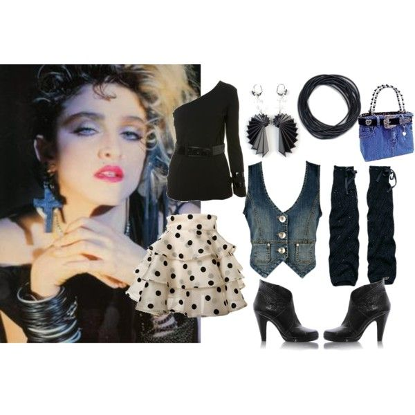 Madonna black dress 80s off the shoulder