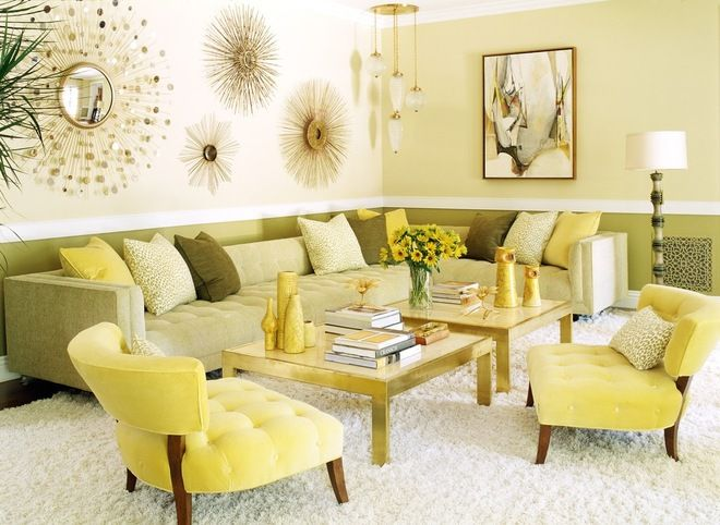 Contemporary Living Room With Fun Vintage Vibes Yellow Green Cool Fun Living Room Ideas Decorating Design