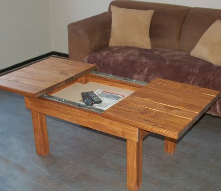 HOMEDZINE DIY Projects This pine coffee table has a sliding top