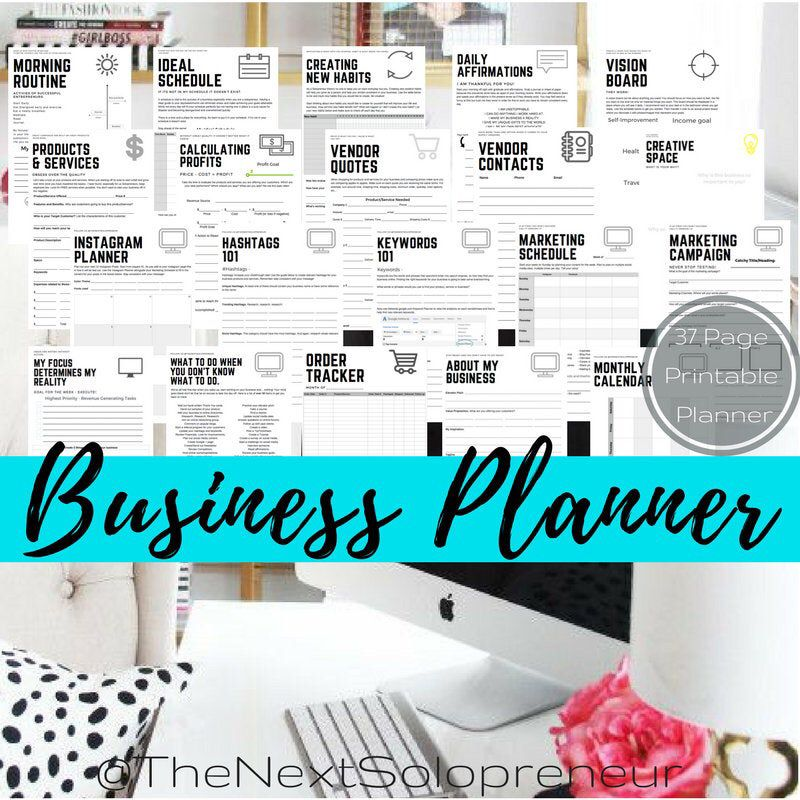 Entrepreneur Business Planner Printable Download Easy to