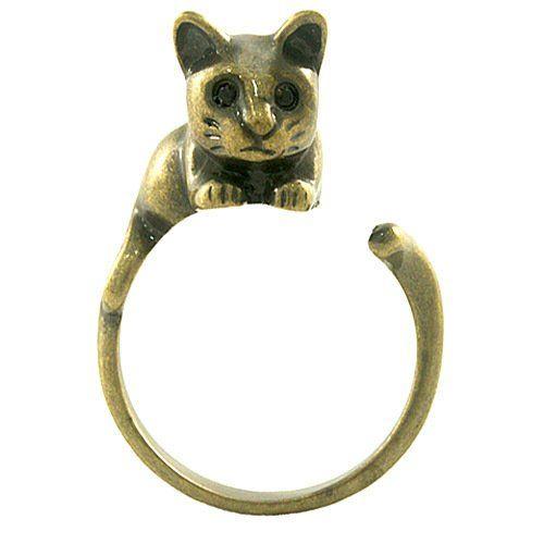 Ellenviva Enhanced Relaxing Cat Adjustable Animal Wrap Ring Vintage Gold Tone