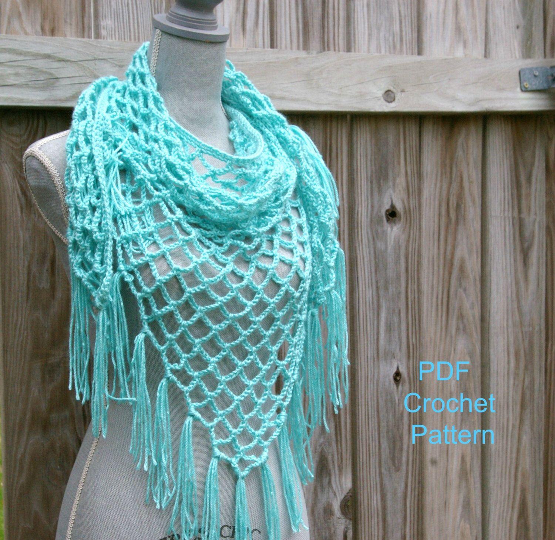 Crochet Pattern Summer Lattice Shawl Pattern, Triangle Scarf Pattern ...