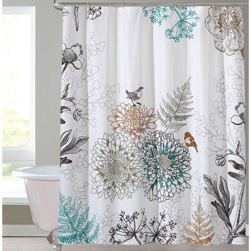 Phoebe Single Shower Curtain Floral Shower Curtains Bird Shower