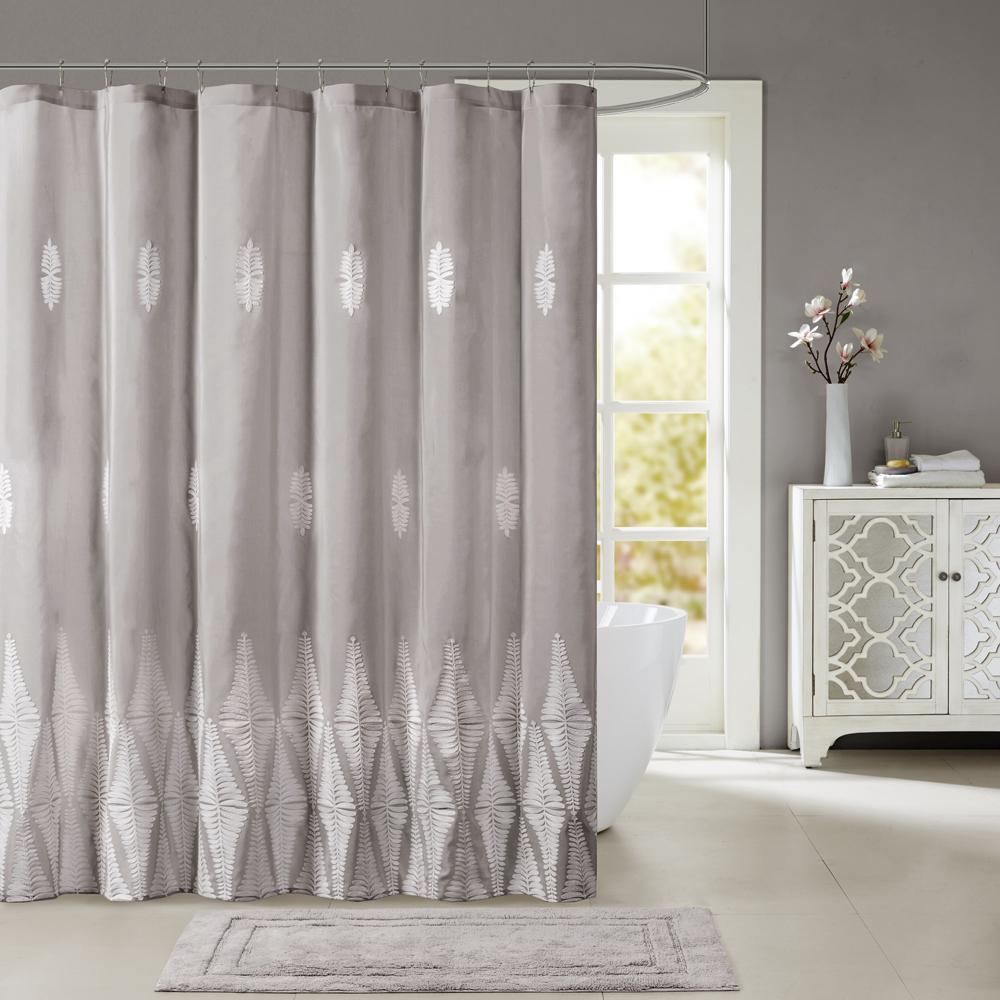 Madison Park Sabrina Shower Curtain With Embroidery Color Option
