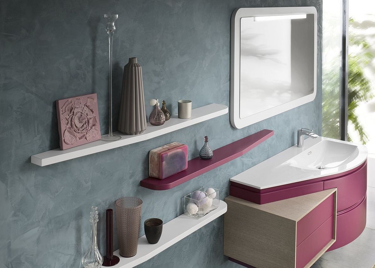 view gallery bathroom modular system progetto. Fuchsia Vanity With White Countertop And Matching Floating Shelves In The Bathroom View Gallery Modular System Progetto G