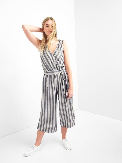 5fa005efad43 Gap Women s Stripe Sleeveless Wrap Jumpsuit Navy Stripe