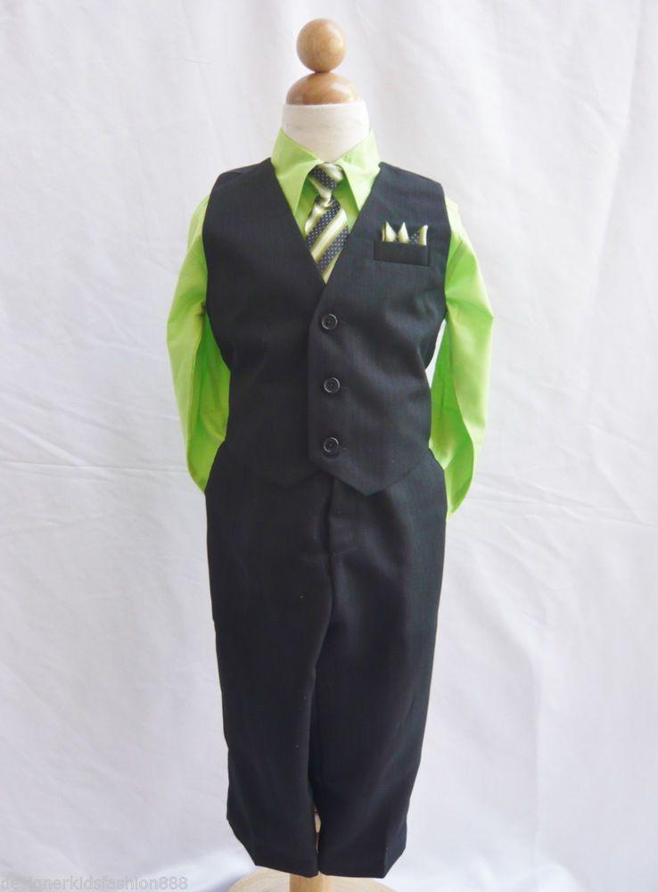 Black apple green boys vest with neck tie ring bearer tuxedo formal ...