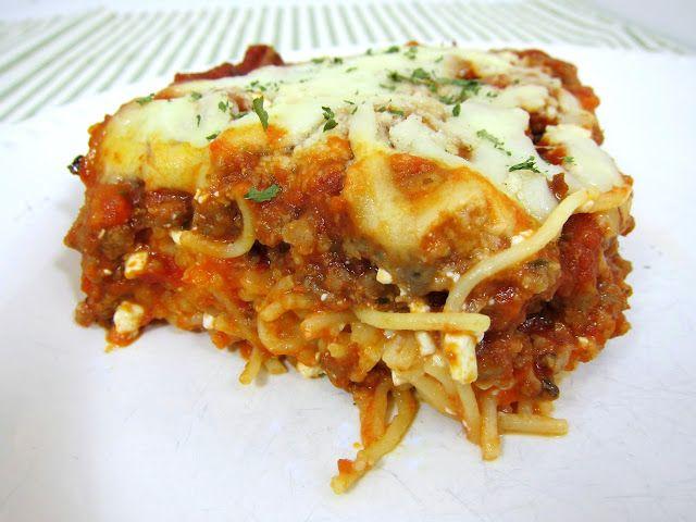 Delicious Baked Spaghetti Casserole   Spaghetti, Egg, Parmesan, Cottage  Cheese, Sausage/