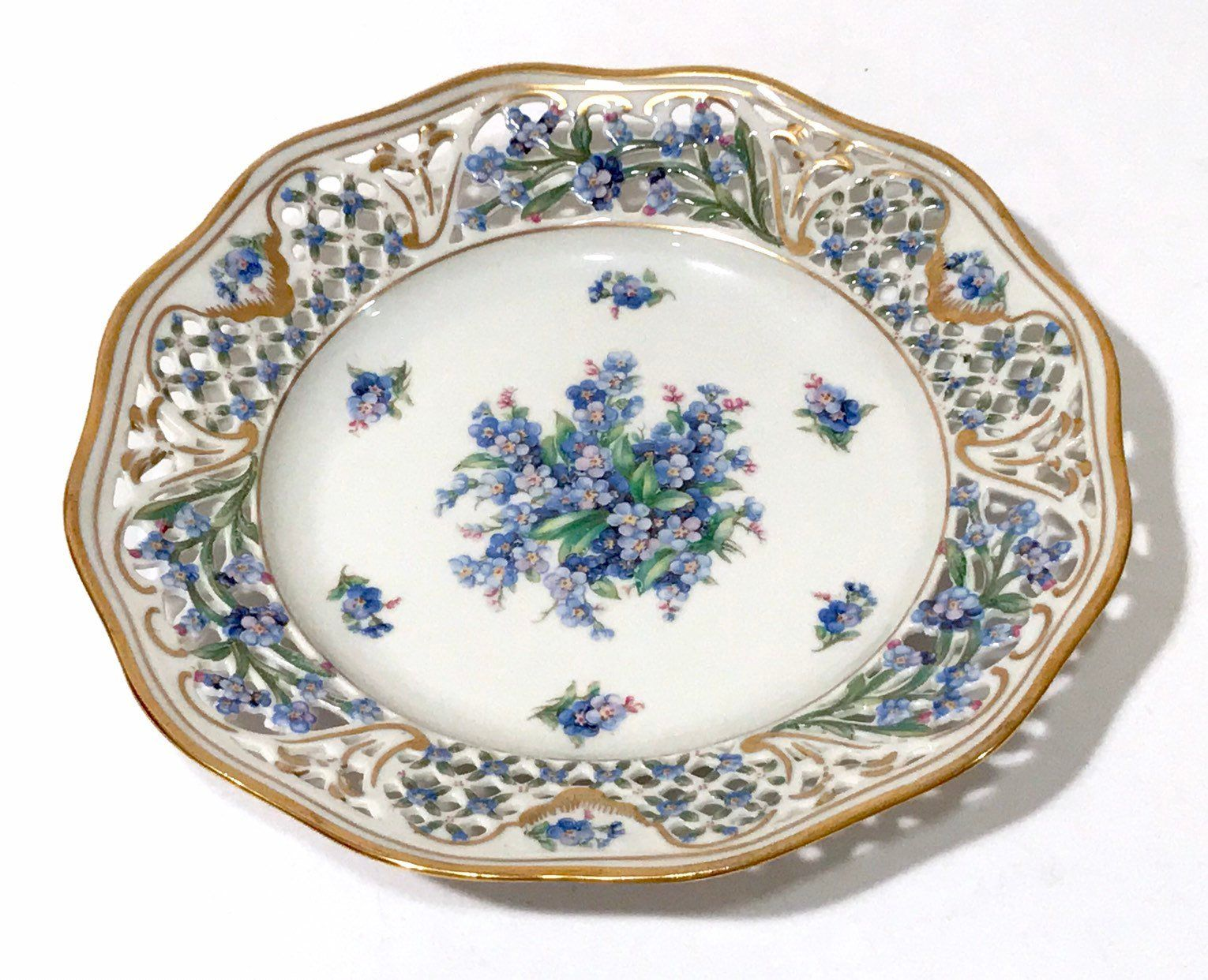 Schumann Bavaria China Plate Forget Me Not Blue Flowers  China