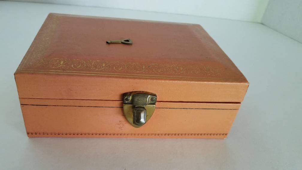 Jewelry Box Pink With Velvet Jewelry Storage Box With Mele Key Jewelry Box With Lock Jewellery Storage Vintage Jewelry