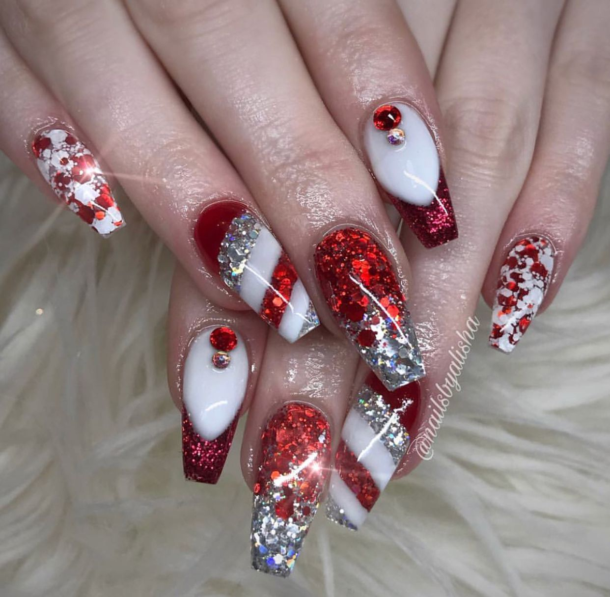 Custom Christmas coffin nails