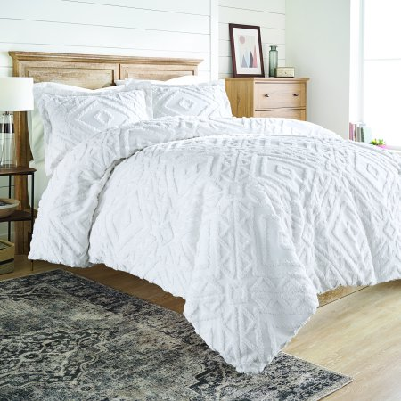 Better Homes And Gardens Chenille 3 Piece Duvet Cover Set King White Walmart Com Duvet Cover Sets White Comforter Bedroom Comfortable Bedroom