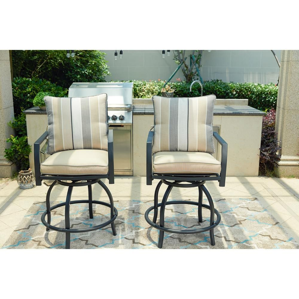 Patio Festival Swivel Metal Outdoor Bar Stool With Beige Cushion