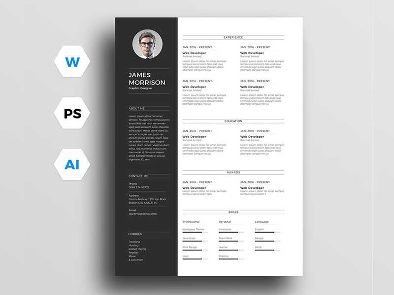Architecture Cv Template Psd Free Download Best Resume Examples