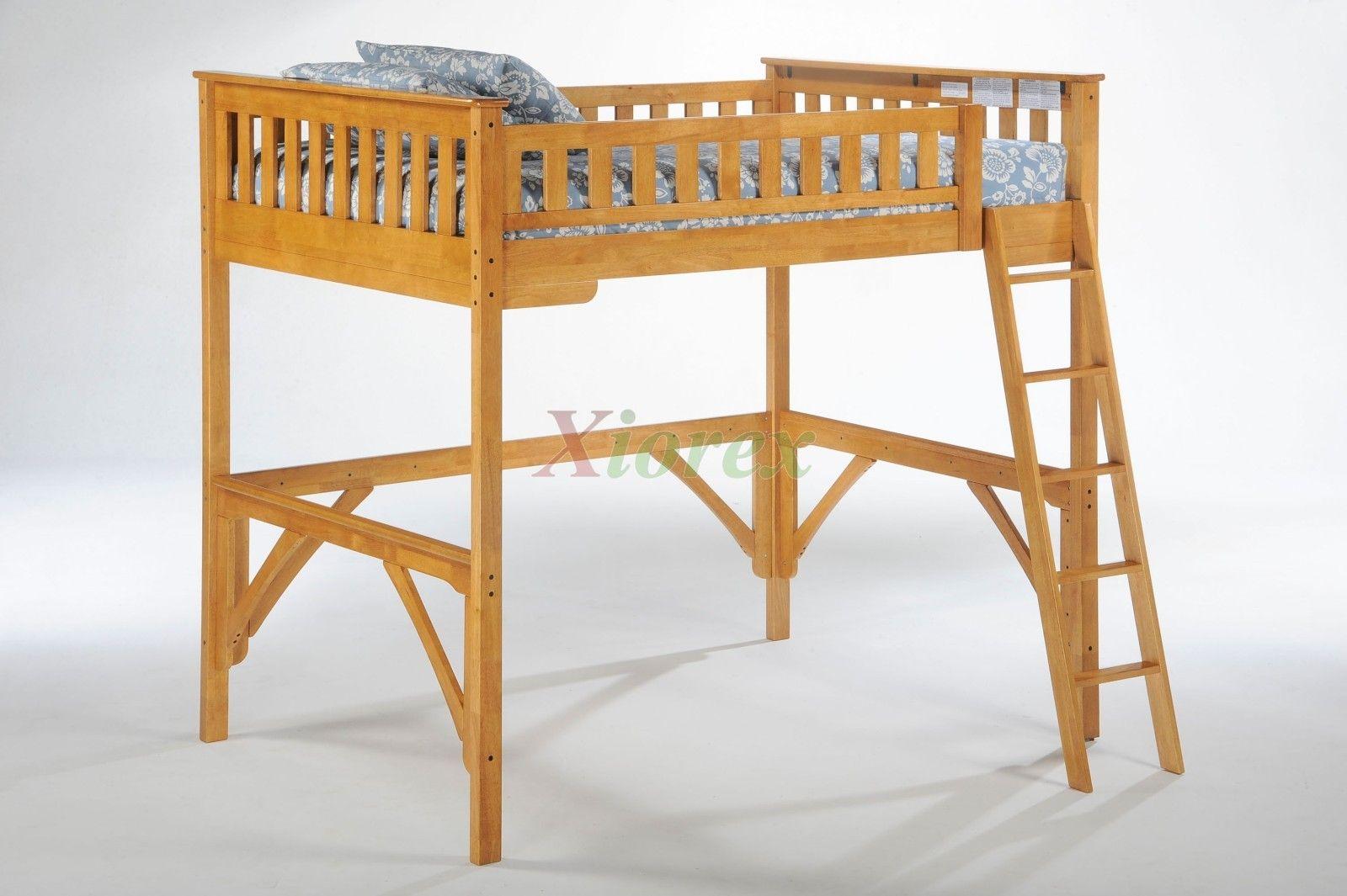 Twin Loft Bed Medium Oak Bunk Ginger Loft Bed | Xiorex Loft Furniture  Ginger Loft Bunk