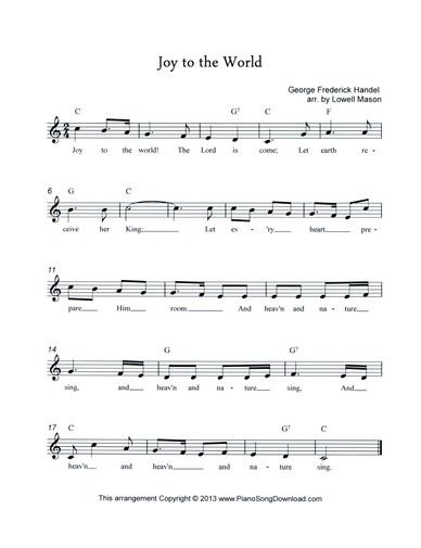 Joy to the World, free Christmas Lead Sheet to download and print. | Joy to the world, Praise songs