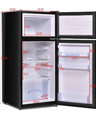 Costway 3 4 Cu Ft 2 Door Compact Mini Refrigerator Freezer Cooler Black Locker Storage Refrigerator Freezer Refrigerator
