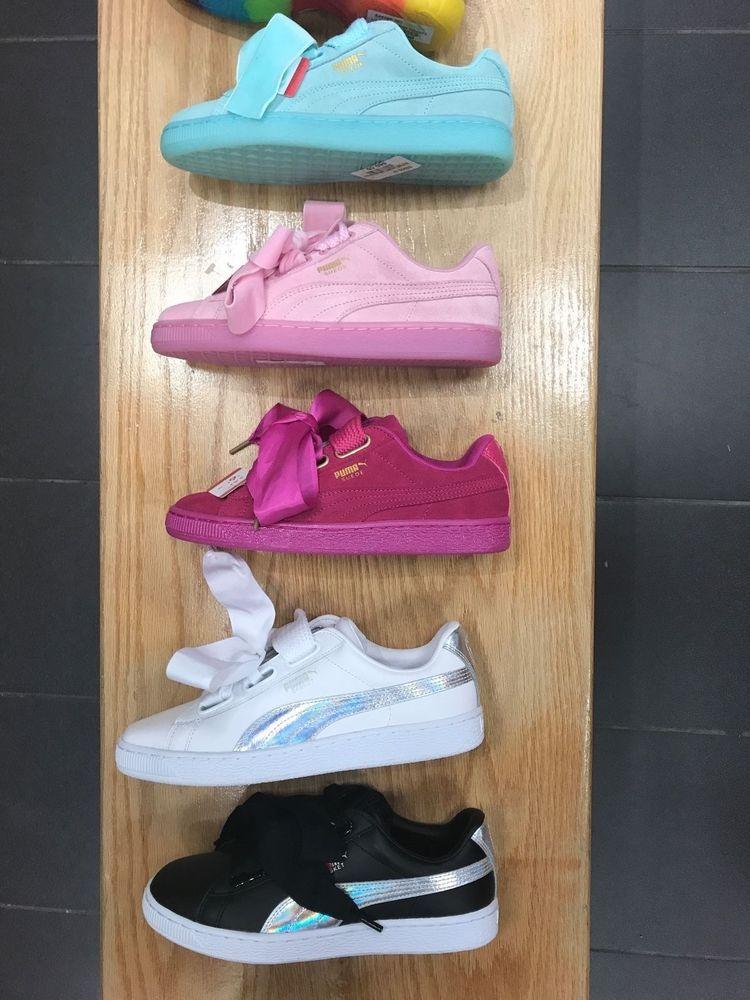 Womens Puma Suede Ribbon Laces Heart Athletic Shoe Size 7-11 Aqua Pink Blk  Wht  PUMA  Sneakers ca51a57f3