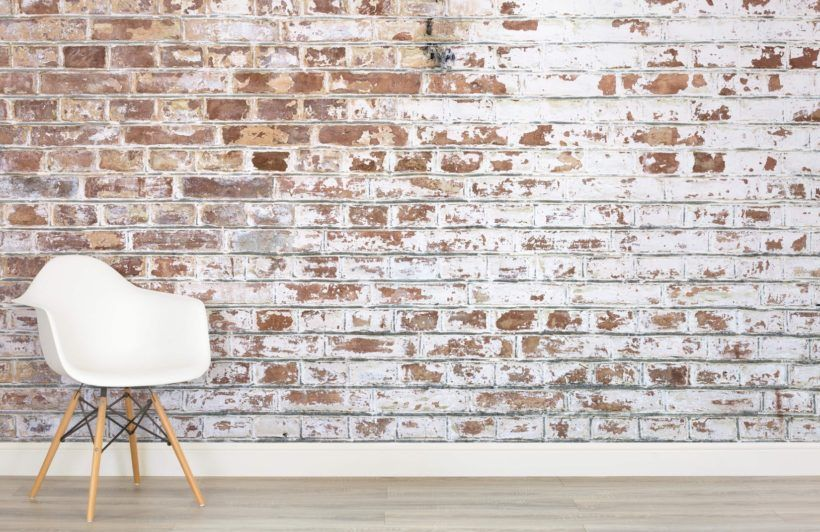 Painted White Brick Wall Mural Industrial Style Muralswallpaper Brick Wallpaper Painted Brick Painted Brick Walls